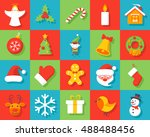 set of christmas icons in flat... | Shutterstock .eps vector #488488456