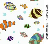 pattern with tropical fishes.... | Shutterstock .eps vector #488491636