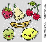 set of cute fruits pins or...   Shutterstock .eps vector #488492836