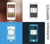 mobile app single screen ui kit.... | Shutterstock .eps vector #488497672