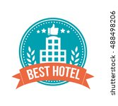 best hotel round banner badge | Shutterstock .eps vector #488498206