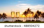 romantic beach holiday setting.  | Shutterstock . vector #488504272