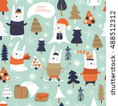 seamless christmas background... | Shutterstock .eps vector #488512312