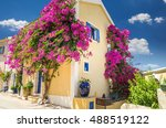 traditional greek house with... | Shutterstock . vector #488519122