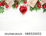 christmas background with heart ... | Shutterstock . vector #488520052