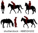 cowboy riding a horse... | Shutterstock .eps vector #488524102