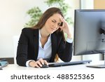 businesswoman suffering... | Shutterstock . vector #488525365