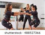 ems electro stimulation women... | Shutterstock . vector #488527366