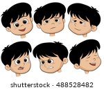 Cartoon Boy Head. Vector Set Of ...