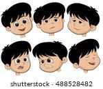 cartoon boy head. vector set of ... | Shutterstock .eps vector #488528482
