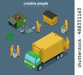 flat isometric garbage man... | Shutterstock .eps vector #488551165