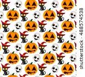 vector halloween seamless... | Shutterstock .eps vector #488574538