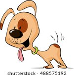enthusiastic dog waiting for... | Shutterstock .eps vector #488575192