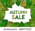 autumn sale in center of leaves   Shutterstock .eps vector #488575525