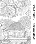 zendoodle design of small hut... | Shutterstock .eps vector #488581966