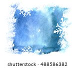 blue christmas watercolor... | Shutterstock . vector #488586382