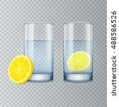 glass cup with water and lemon  ... | Shutterstock .eps vector #488586526