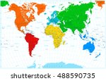 world map with colorful... | Shutterstock .eps vector #488590735