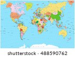 large detailed political world... | Shutterstock .eps vector #488590762