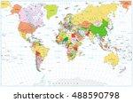 large detailed political world... | Shutterstock .eps vector #488590798