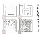 set of mazes 36 | Shutterstock .eps vector #488595916