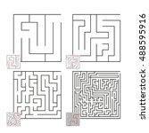 set of mazes 36 | Shutterstock .eps vector #488595916