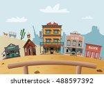 wild west town | Shutterstock .eps vector #488597392