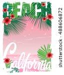 california beach t shirt... | Shutterstock .eps vector #488606872