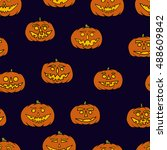 hand drawn jack o lantern...   Shutterstock .eps vector #488609842