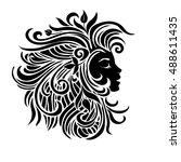 black and white silhouette... | Shutterstock .eps vector #488611435