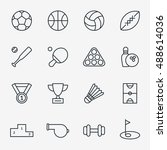 sport icons in thin line style... | Shutterstock .eps vector #488614036