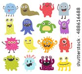 cute monster color character... | Shutterstock .eps vector #488616688