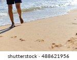 person walking on summer beach... | Shutterstock . vector #488621956