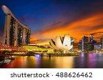singapore city skyline  marina... | Shutterstock . vector #488626462