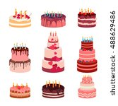 sweet baked isolated cakes set. ... | Shutterstock .eps vector #488629486