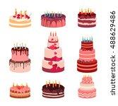 sweet baked isolated cakes set. ...   Shutterstock .eps vector #488629486