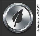 leaf icon on metal internet... | Shutterstock .eps vector #48863302