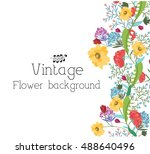retro flower background concept.... | Shutterstock .eps vector #488640496