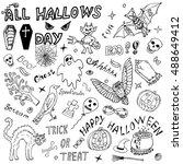happy halloween itemized hand... | Shutterstock .eps vector #488649412