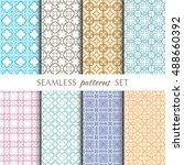 set of eight seamless geometric ... | Shutterstock .eps vector #488660392