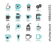 coffee icons with reflection... | Shutterstock .eps vector #488661052