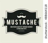 mustache vintage gentleman... | Shutterstock .eps vector #488664118