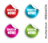 register now sticker  button ...