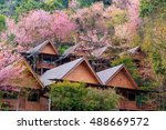 Cherry Blossom And Village At...