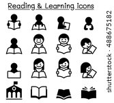 reading   learning   study icons | Shutterstock .eps vector #488675182