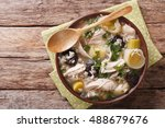 scottish cock a leekie soup... | Shutterstock . vector #488679676
