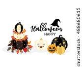happy halloween in golden and... | Shutterstock .eps vector #488680615