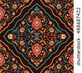 floral tile design in arabic...   Shutterstock .eps vector #488687422