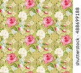 seamless floral pattern with... | Shutterstock .eps vector #488699188