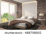 bedroom interior. 3d... | Shutterstock . vector #488708002